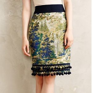 Anthropologie Maeve tapestry Pom Pom skirt 6 🌟🌟